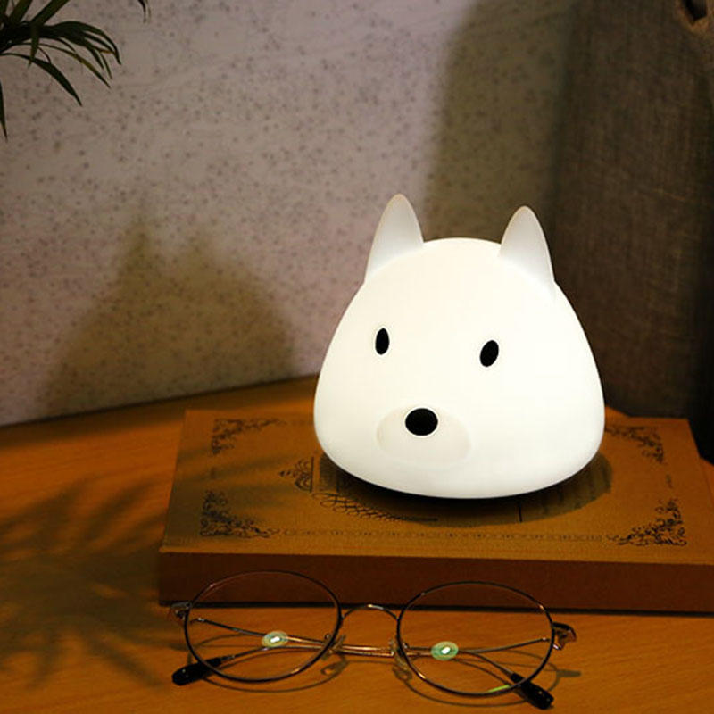 LED switch night light cartoon dog silicone portable multicolor chargeable