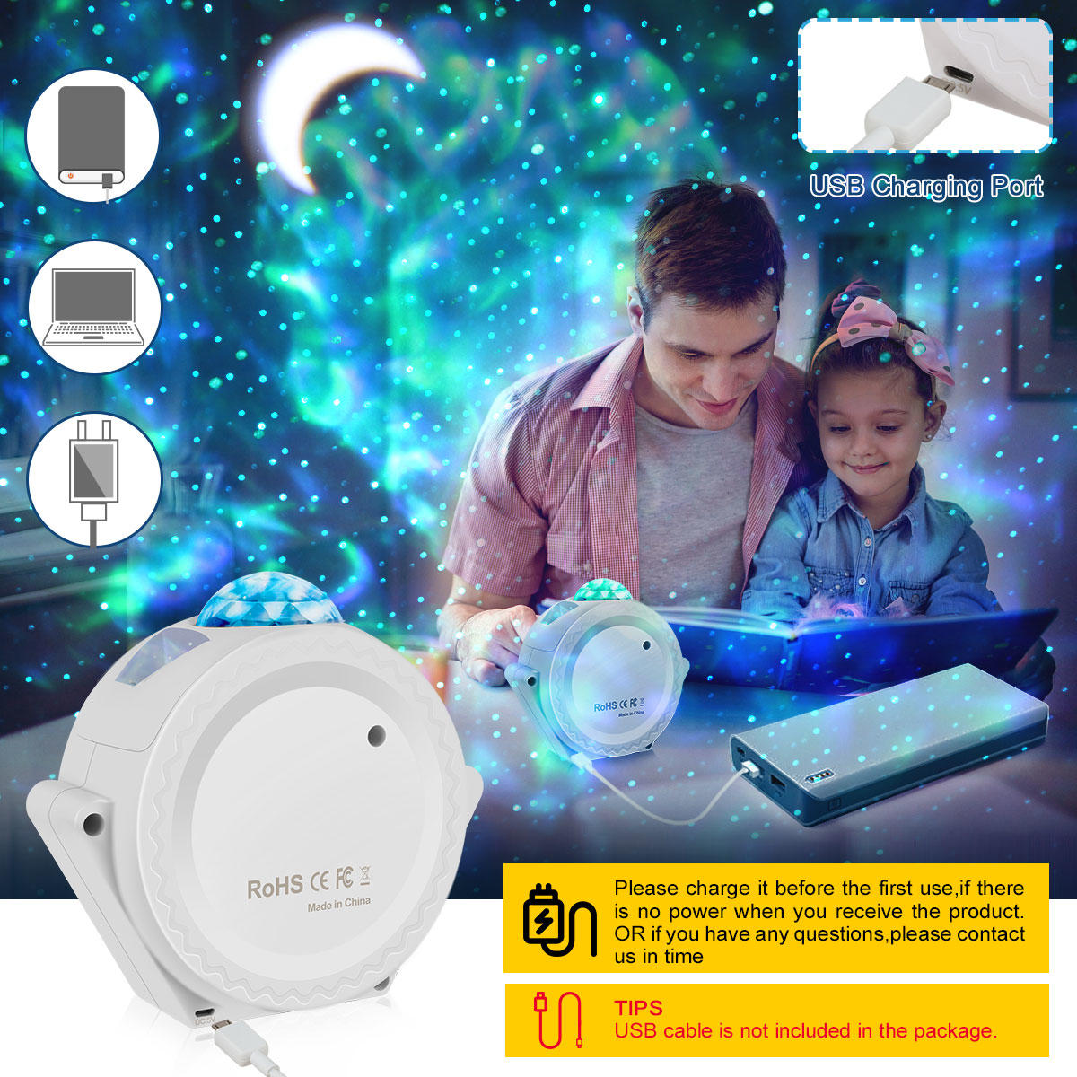 Music Control Starry Sky Ocean Projector Bedroom Living room Decorative Light lamp Colorful USB LED Moon Nebula Night Light for Kids