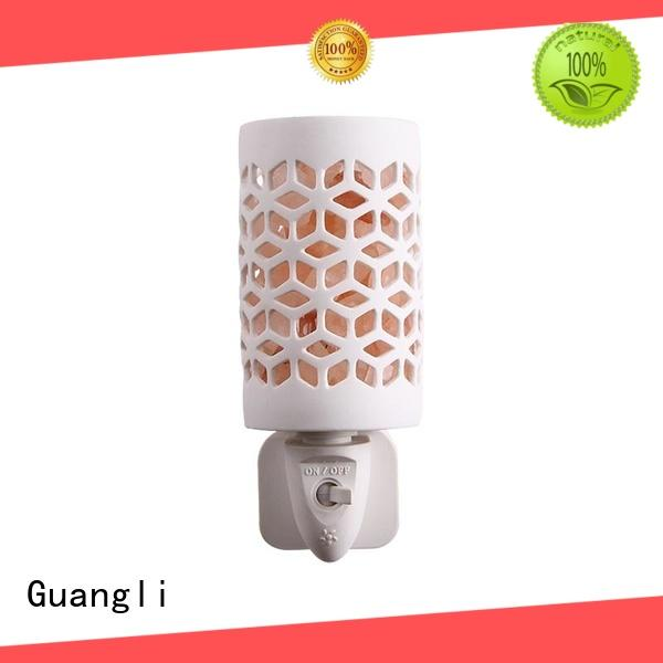 Plug-in Crystal Himalayan Salt Night Light With Ceramic Cover and Exquisite Carving Pattern