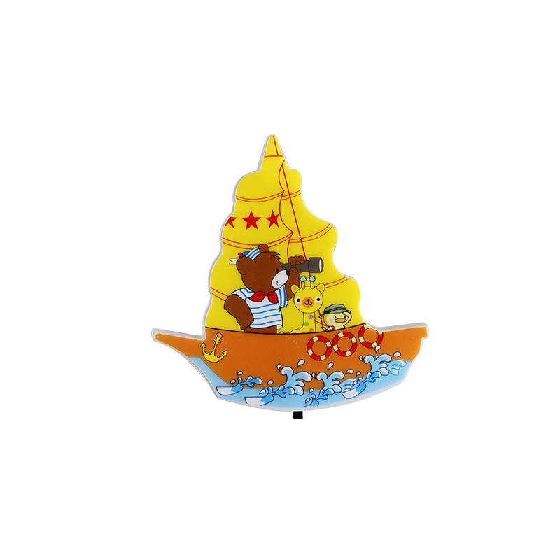 Cartoon mini switch plug in sailboat LED night light For kids Baby Bedroom with 0.5W AC 110V 220V