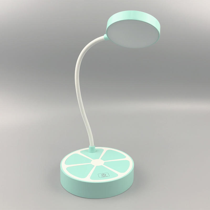 Cute Orange desk lamp with 3 brightness level adjustable table lamp gift for kids with USB ports rechargeable 5V