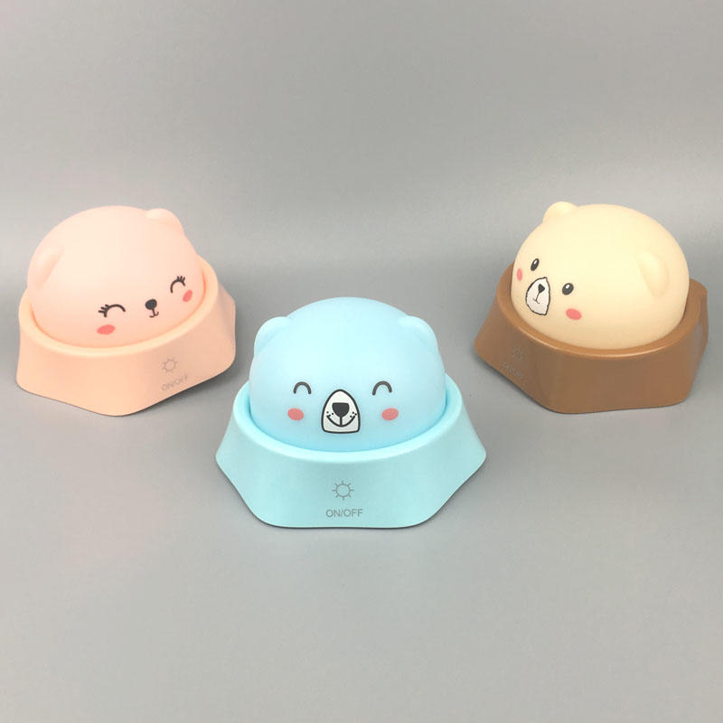Cute bear desk lamp USB rechargeable colorful night light for kids touch control switch hand to change color table lamp