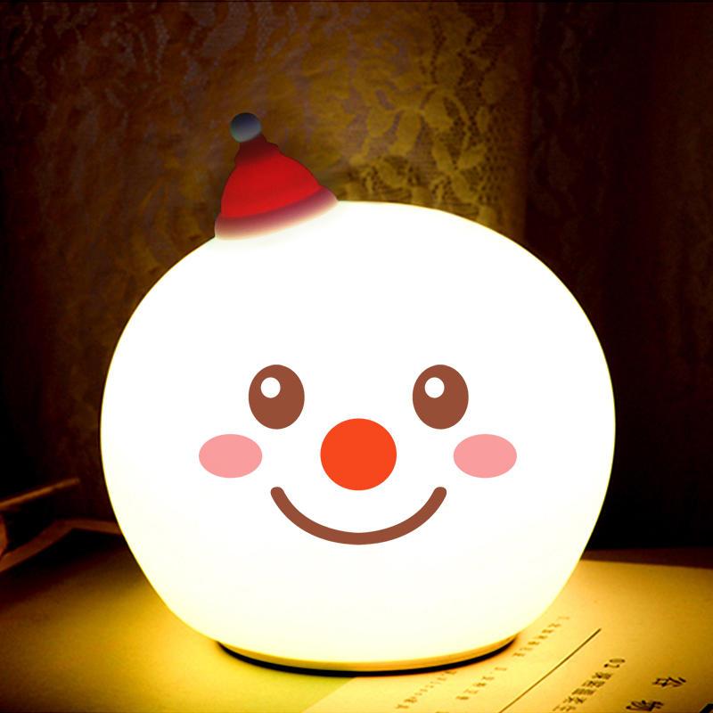 portable soft restorable silicon Christmas Santa Claus decorative kids children colorful smart energy-saving gifts night light