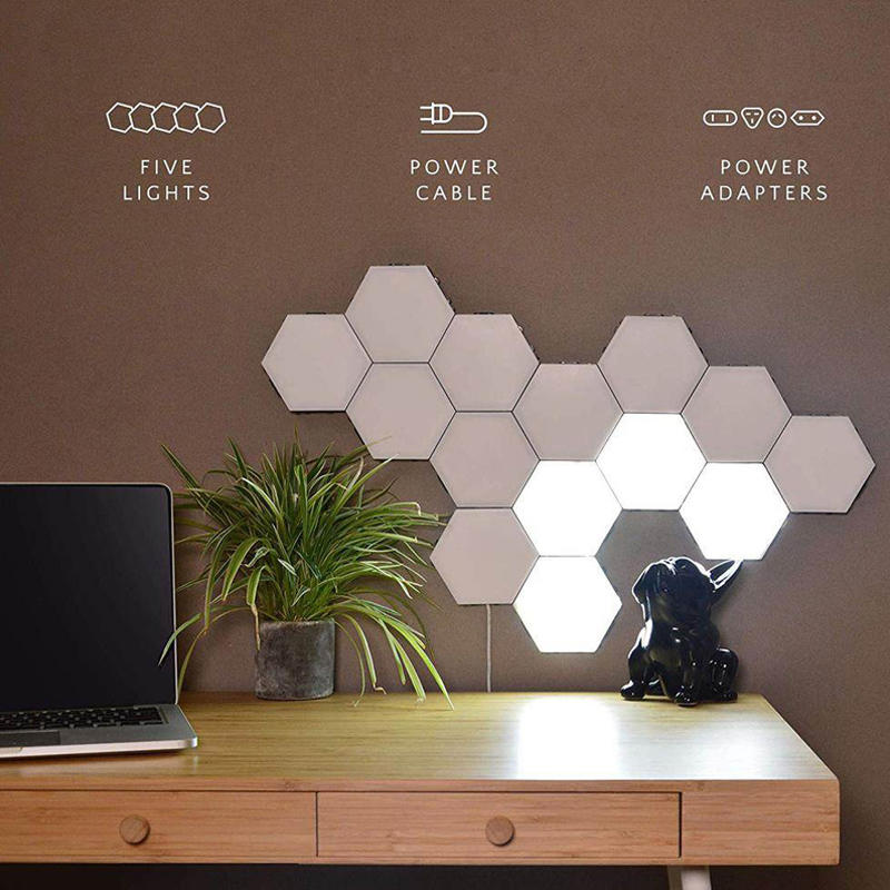 Multi-colors hand touch sensing modular night light hexagonal black family quantum honeycomb induction wall lamp