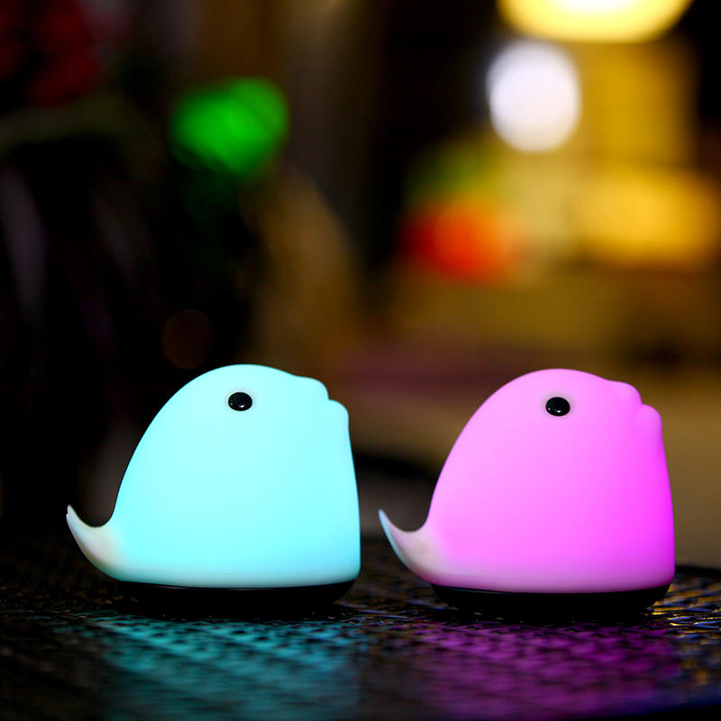 cetacean shape portable touch night light with Li battery